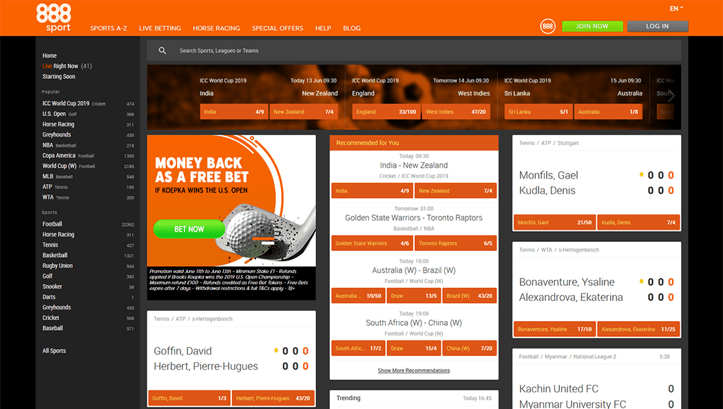 A screenshot of the look of the 888 Sport Homepage