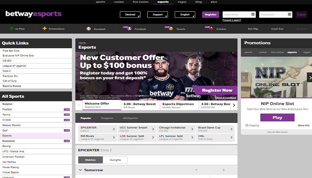 The eSports section of Betway Sports