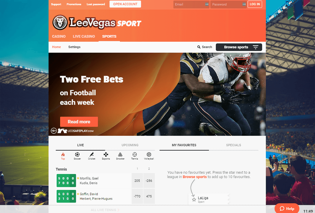The Leo Vegas Sports Website