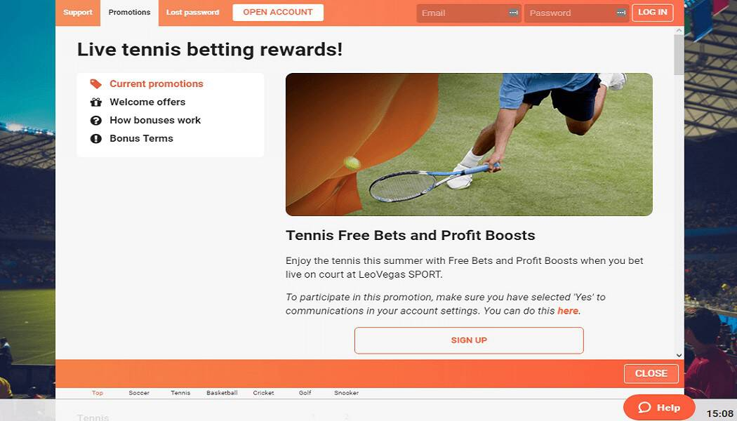 LeoVegas tennis odds boost