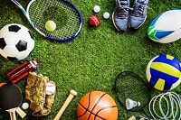Infamous sports items such as a tennis racket or a basketball