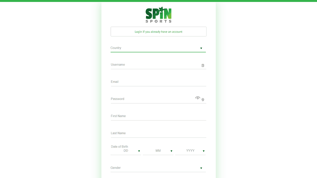 Spin Sports registration form