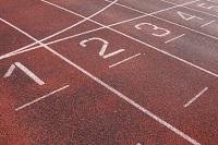A tartan track in a stadium
