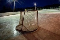 An ice hockey goal