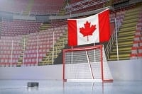 An ice hockey goal and the Canadian flag