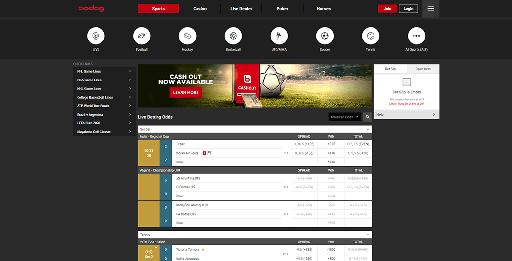 The Bodog sports homepage