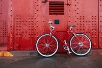 This image shows a red bicycle